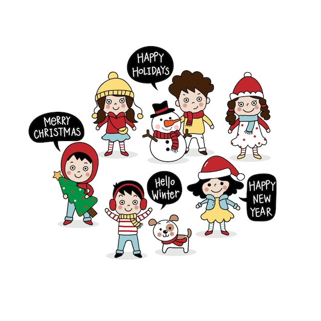 Merry christmas greeting card with cute kids. Premium Vector