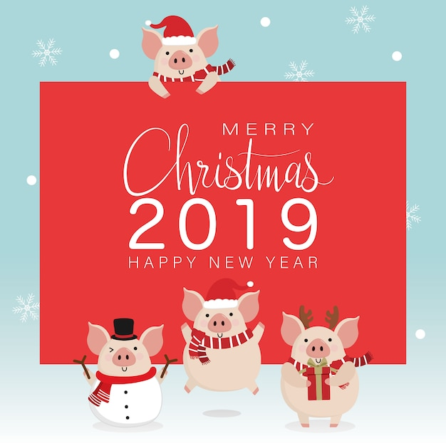 Merry christmas greeting card with cute pig Premium Vector