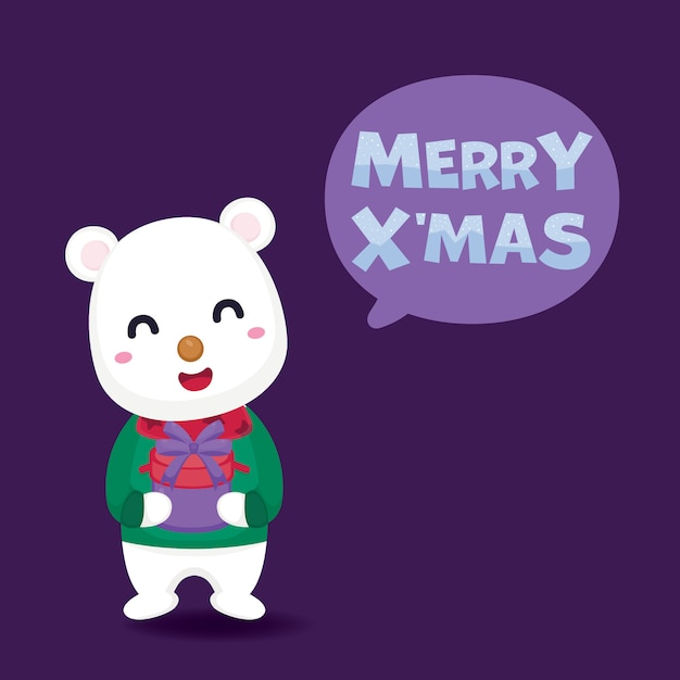 Merry christmas greeting card with cute polar bear and gift box. Premium Vector