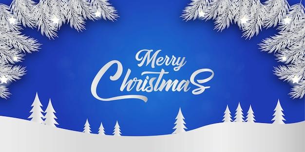 装飾が施されたメリークリスマスグリーティングカード Premiumベクター