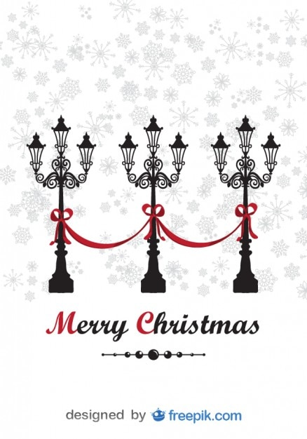 Merry Christmas Greeting Card with decorative\ Lamppost and snowing background