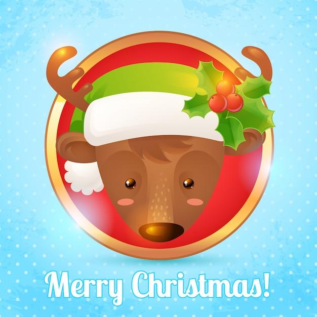 Merry christmas greeting card with deer head portrait vector illustration Premium Vector