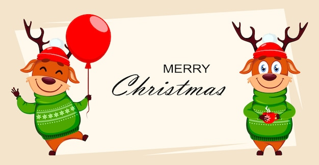 Merry christmas greeting card with deer Premium Vector
