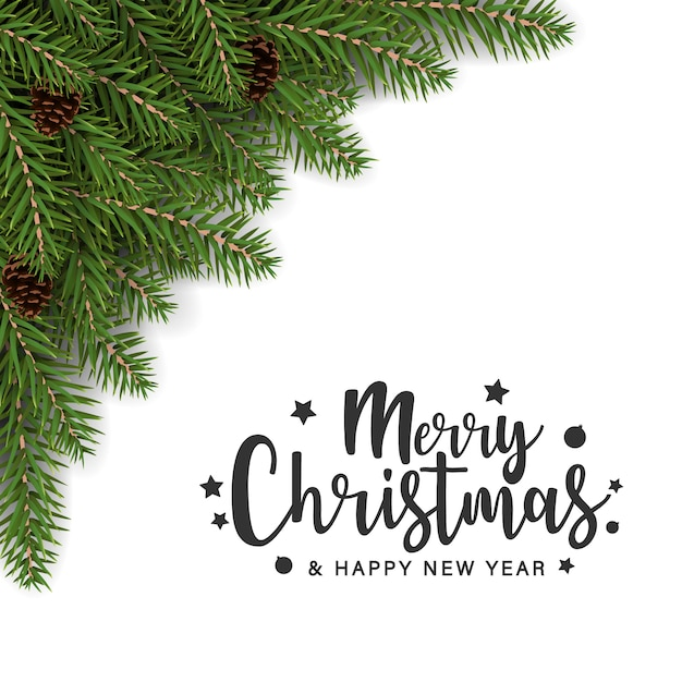 Merry christmas greeting card with fir branches decoration Premium Vector
