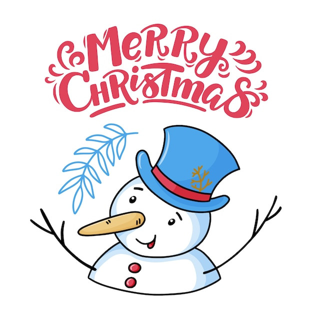 Funny Merry Christmas.Merry Christmas Greeting Card With Funny Snowman Vector