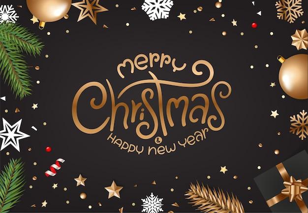 レタリングの碑文とメリークリスマスのグリーティングカード Premiumベクター