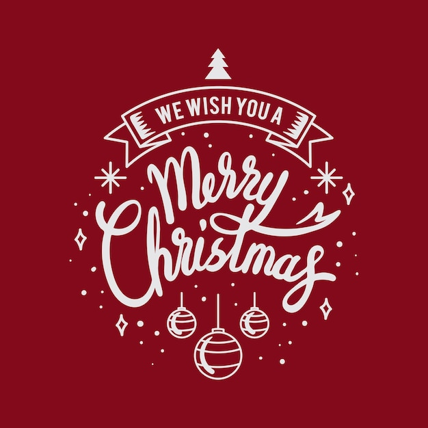 С рождеством христовым открытка с буквами Бесплатные векторы