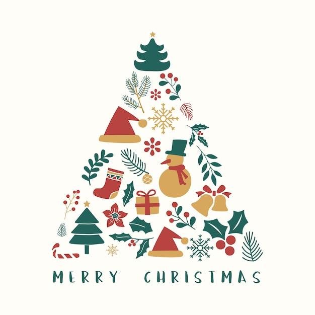 С рождеством христовым открытка с современным деревом Бесплатные векторы