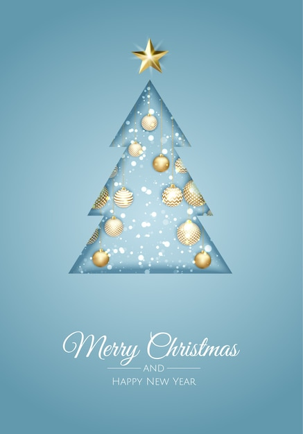 Merry christmas greeting card with new years tree. Premium Vector