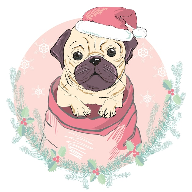 Merry christmas greeting card with portrait of cute french bulldog in red santa hat. vector illustration. Premium Vector