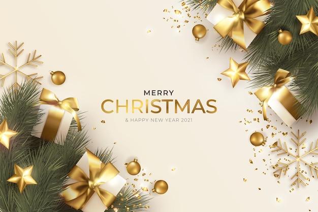 현실적인 크리스마스 장식으로 메리 크리스마스 인사말 카드 무료 벡터