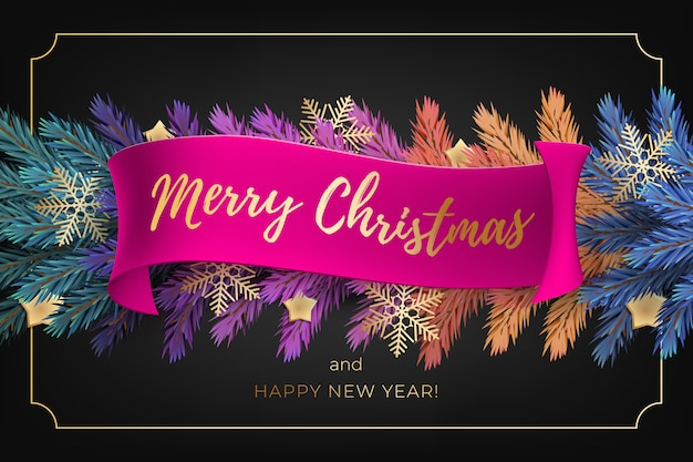Merry christmas greeting card with a realistic colorful garland of pine tree branches Premium Vector