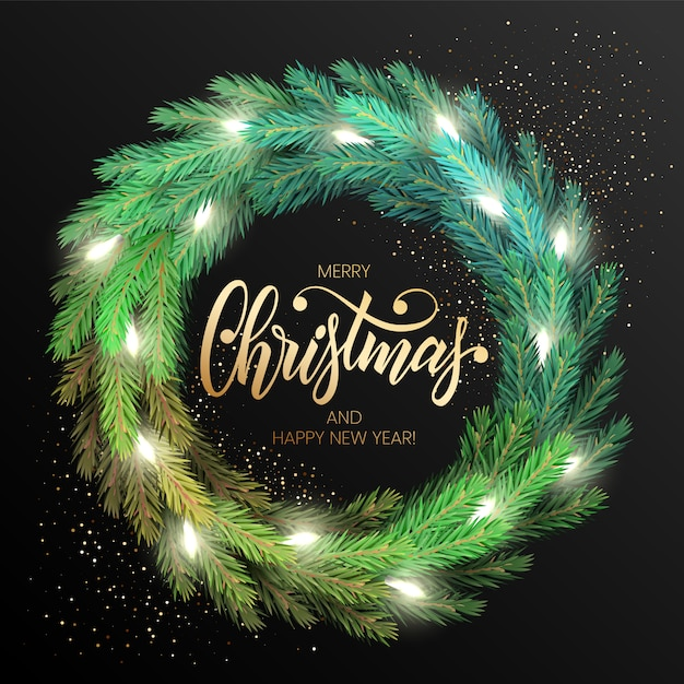 Merry christmas greeting card with a realistic colorful wreath of pine tree branches, decorated with christmas lights. modern lettering merry christmas in gold Premium Vector