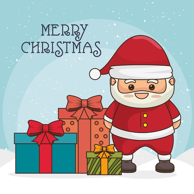 Merry christmas greeting card with santa claus character and gift boxes or presents Free Vector