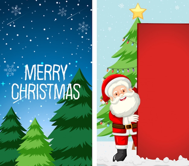 Merry christmas greeting card with santa claus character Free Vector
