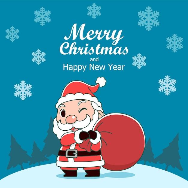 산타 클로스 가방을 들고와 메리 크리스마스 인사말 카드 무료 벡터