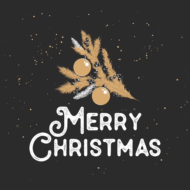 Merry christmas greeting card with sketch golden branch Premium Vector