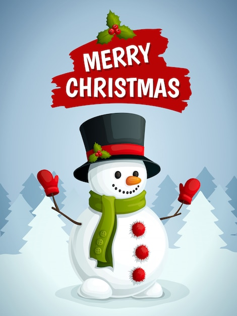 Merry christmas greeting card with snowman illustration Free Vector