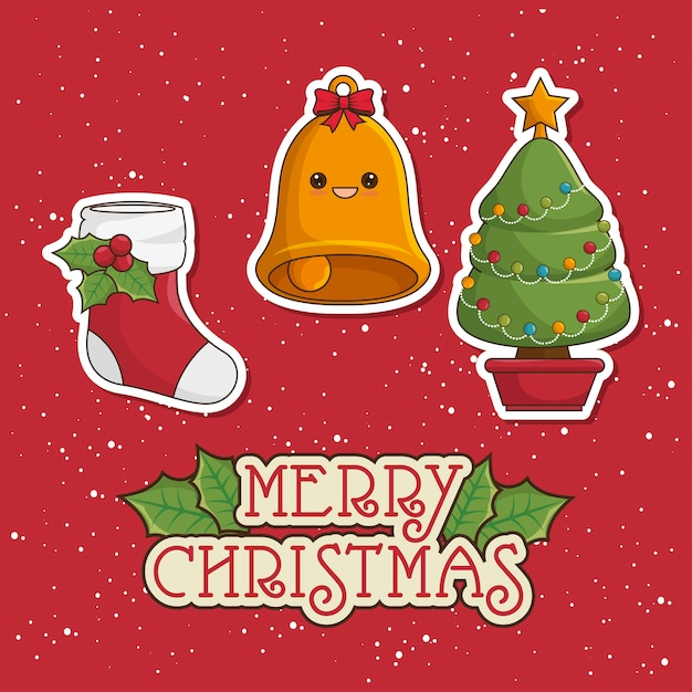 Merry christmas greeting card with tree, bell and socks Free Vector