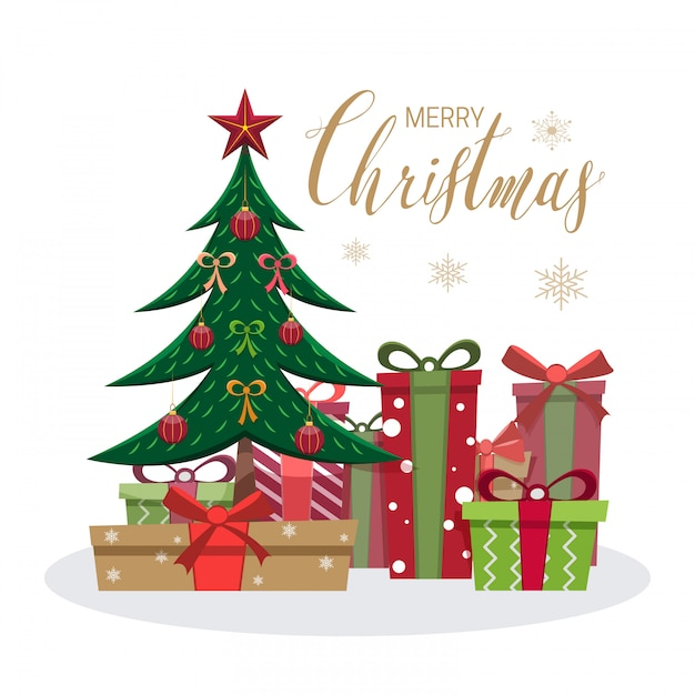 Merry christmas greeting card with tree and gift boxes Premium Vector