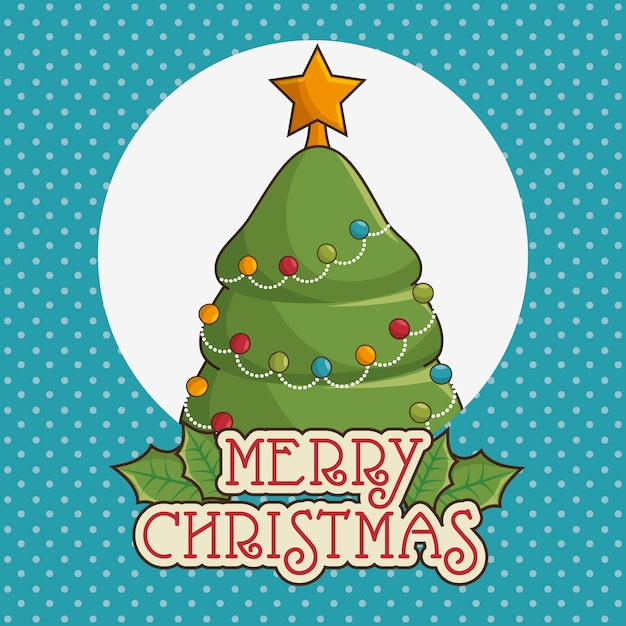 Merry christmas greeting card with tree Free Vector