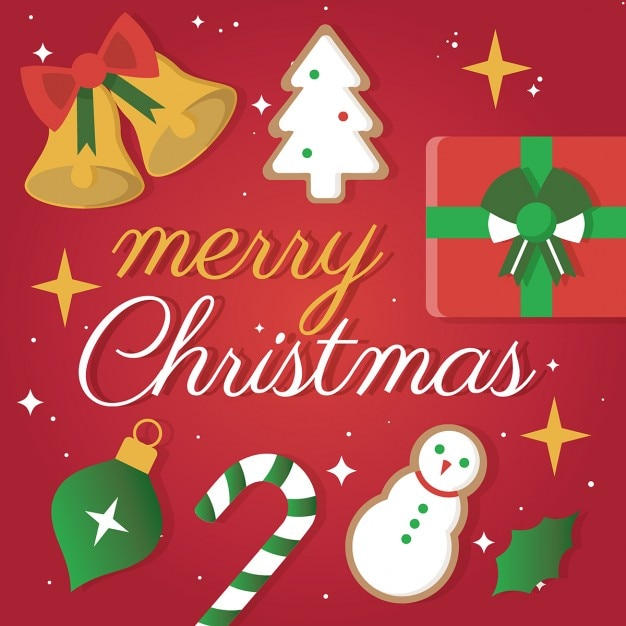 merry christmas greeting card vector free download
