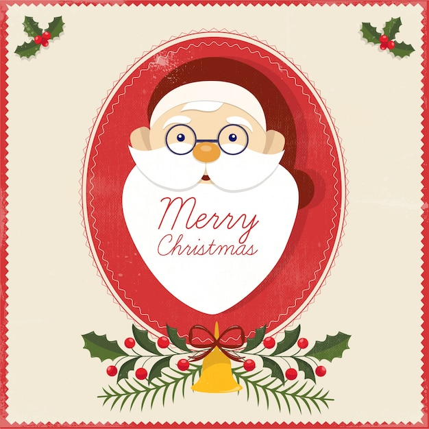 Merry Christmas Greeting Card Free Vector
