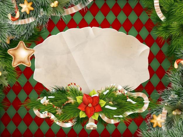 メリークリスマスのグリーティングカード。 Premiumベクター