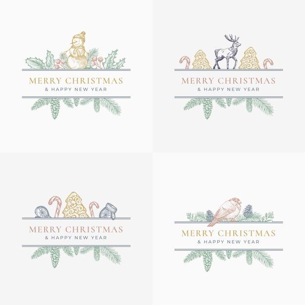 С рождеством христовым поздравительные открытки или набор наклеек. Бесплатные векторы