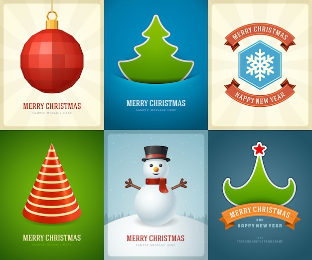 Merry christmas greeting cards templates Premium Vector