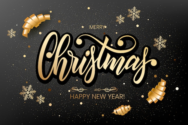Merry christmas greeting postcard with unique 3d lettering merry christmas , . Premium Vector