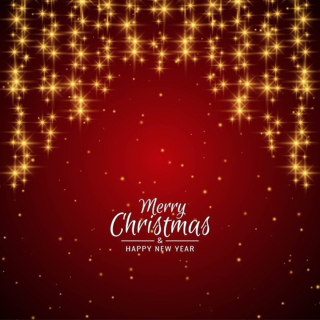 Merry christmas greeting red background with stars Free Vector