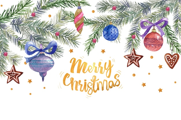 Merry christmas greeting surrounded by christmas decoration Free Vector