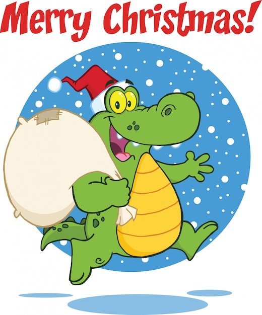 Merry christmas greeting with crocodile santa cartoon character running with bag Premium Vector