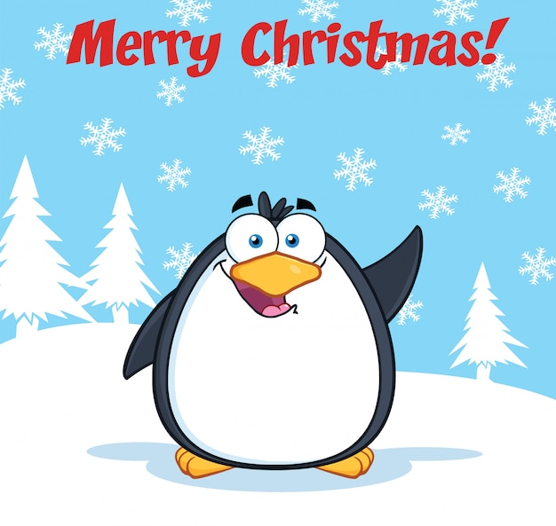 Merry christmas greeting with funny penguin cartoon character waving Premium Vector