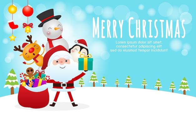 Поздравление с рождеством христовым с оленями и снеговиками Premium векторы