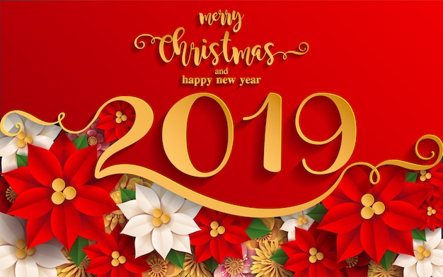 Merry christmas greetings and Happy new year 2019 Vector | Premium ...