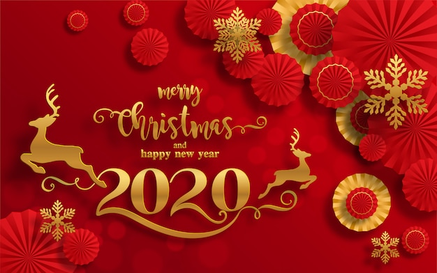 Premium Vector | Merry christmas greetings and happy new year 2020