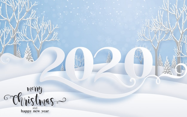 Merry christmas greetings and happy new year 2020 templates with beautiful winter and snowfall patterned paper cut art. Premium Vector