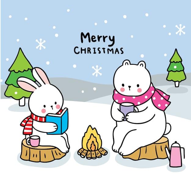 #merryクリスマス手描き漫画かわいいウサギとホッキョクグマの森。 Premiumベクター