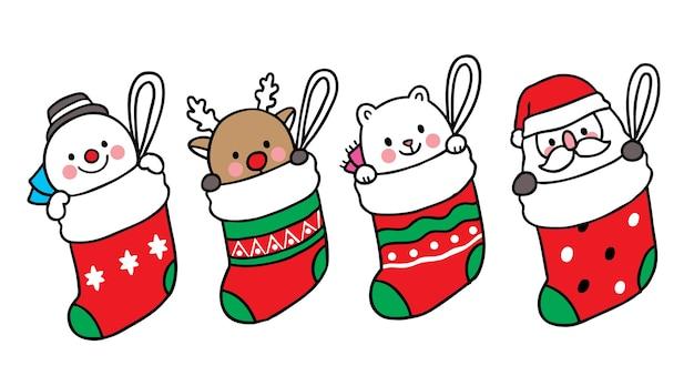 メリークリスマス手描き漫画かわいい雪だるま鹿ホッキョクグマと大きな靴下のサンタクロース。 Premiumベクター