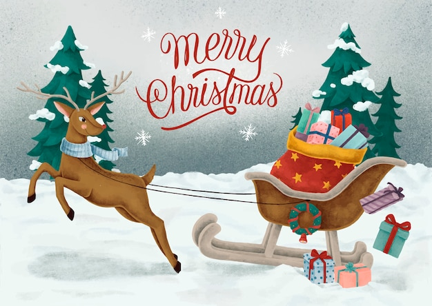 Merry christmas hand drawn card Free Vector