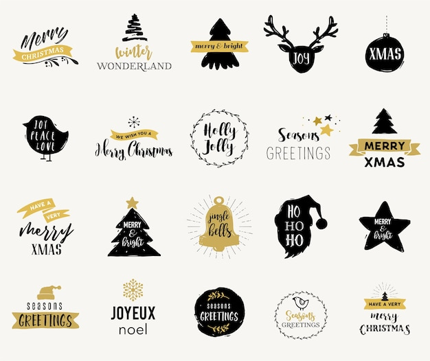 메리 크리스마스 손으로 그린 카드, 일러스트 및 엠블럼, 레터링 디자인 컬렉션 프리미엄 벡터