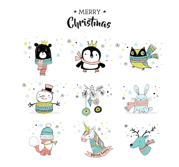 Merry christmas hand drawn cute doodles, stickers, illustrations. penguin, bear, owl, deer and unicorn Premium Vector