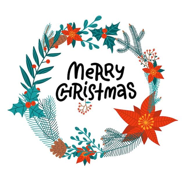 Счастливого рождества рисованной надписи в круглом цветочном венке из пуансеттии, ветвей ели и падуба, шишек. Premium векторы