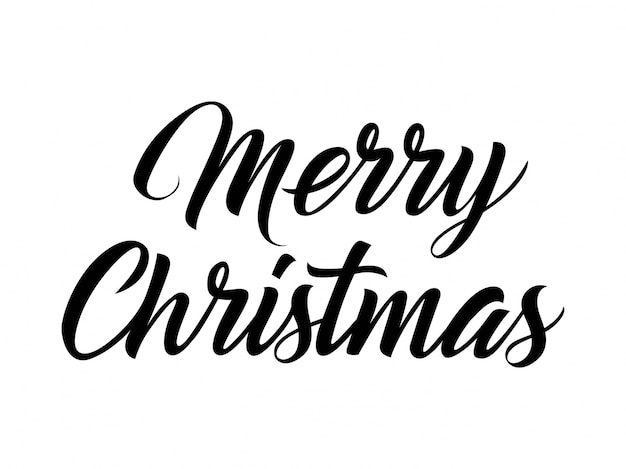 Merry christmas hand lettering vector free download