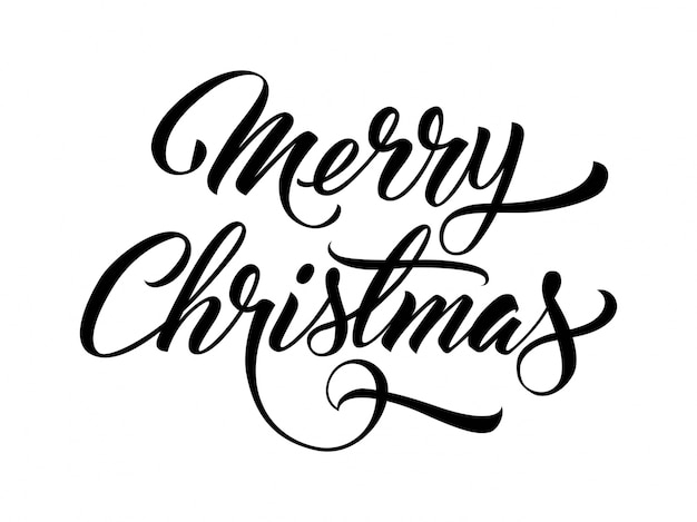 Merry Christmas handwritten text Vector | Free Download