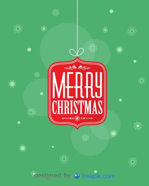 Merry christmas hanging by a thread with snowfalkes background Free Vector