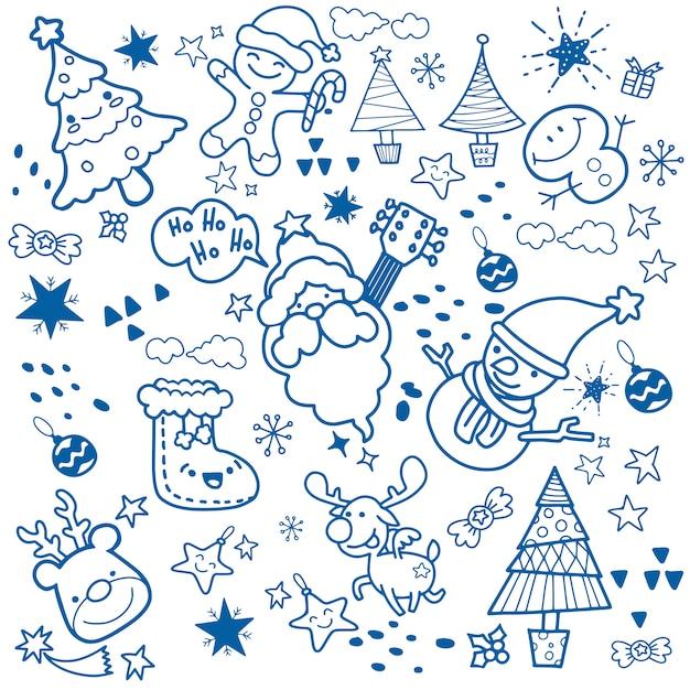 Merry christmas! happy christmas companions. santa claus, snowman Premium Vector