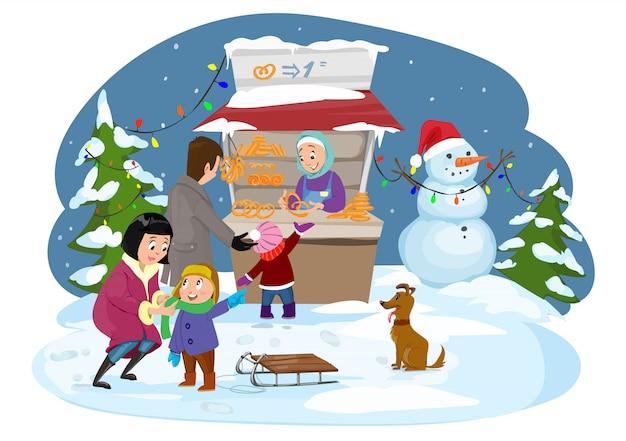 Merry christmas happy family Premium Vector